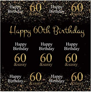 Yeele-Birthday-60th-Background 10x10ft Photography Background Sixty Years Old Gold Sparkling Sand Sassy Fashion Celebration Photo Backdrops Birthday Decoration Pictures Studio Props Wallpaper