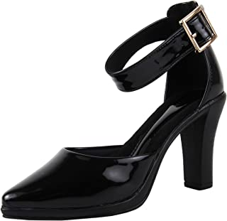 Catwalk Women's Pointed Toe Ankle Strap Pumps