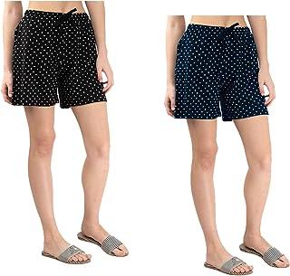 IndiWeaves Women's Cotton Printed Hot ShortsPack of 2