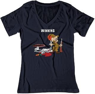 BSW Women's Bunny Elmer Shot Looney Cartoon V-Neck Shirt