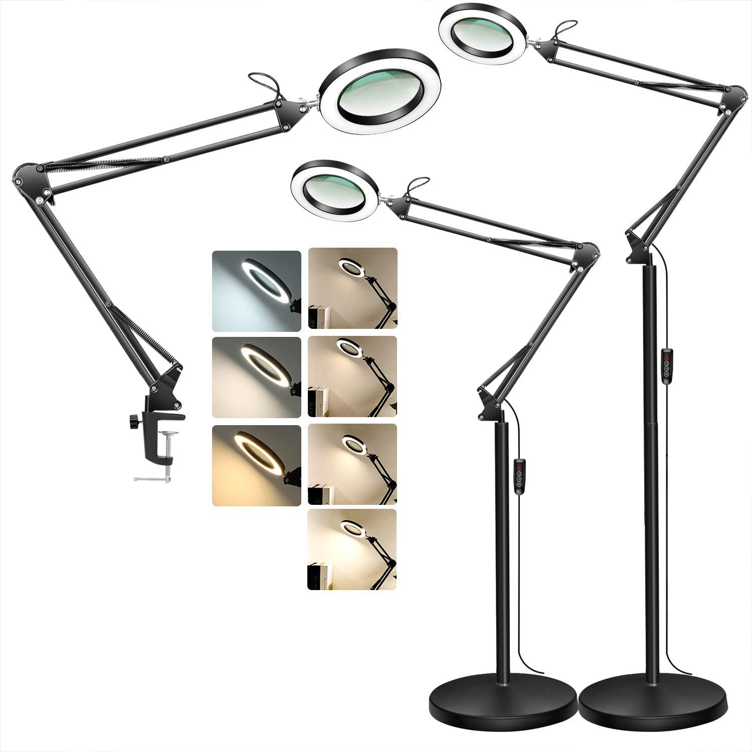 TOMSOO Magnifying Floor Lamp Max 81% OFF with Stepless Modes Color 3 Clamp security