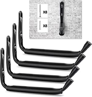 NZACE Heavy Duty Jumbo Arm Indoor Outdoor Storage Wall Hanging Hooks, Dock or Wall Mount Hangers Cradle Set for Canoe, Kayak, Paddle Board, Surfboard, Snow Board, Wake Board (4 Pack, Black)