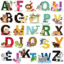 DEKOSH Educational Animal Alphabet Kids Wall Decals - Baby Nursery Decor Peel Stick Decorative Baby Stickers for Playroom,...