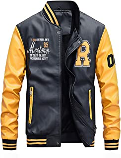 Men's Faux Leather Jacket Casual Baseball Stand Collar Slim Fit Coat