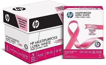 HP Printer Paper, Multipurpose20, 8.5 x 11 Paper, Letter Size, 20lb Paper, 96 Bright, 2,500 Sheets / 5 Ream Carton (115100PC) Acid Free Paper