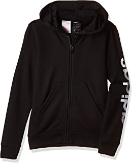 بلوزة رياضية بقلنسوة ماركة Adidas Youth Girl's Essentials Linear بسحاب كامل