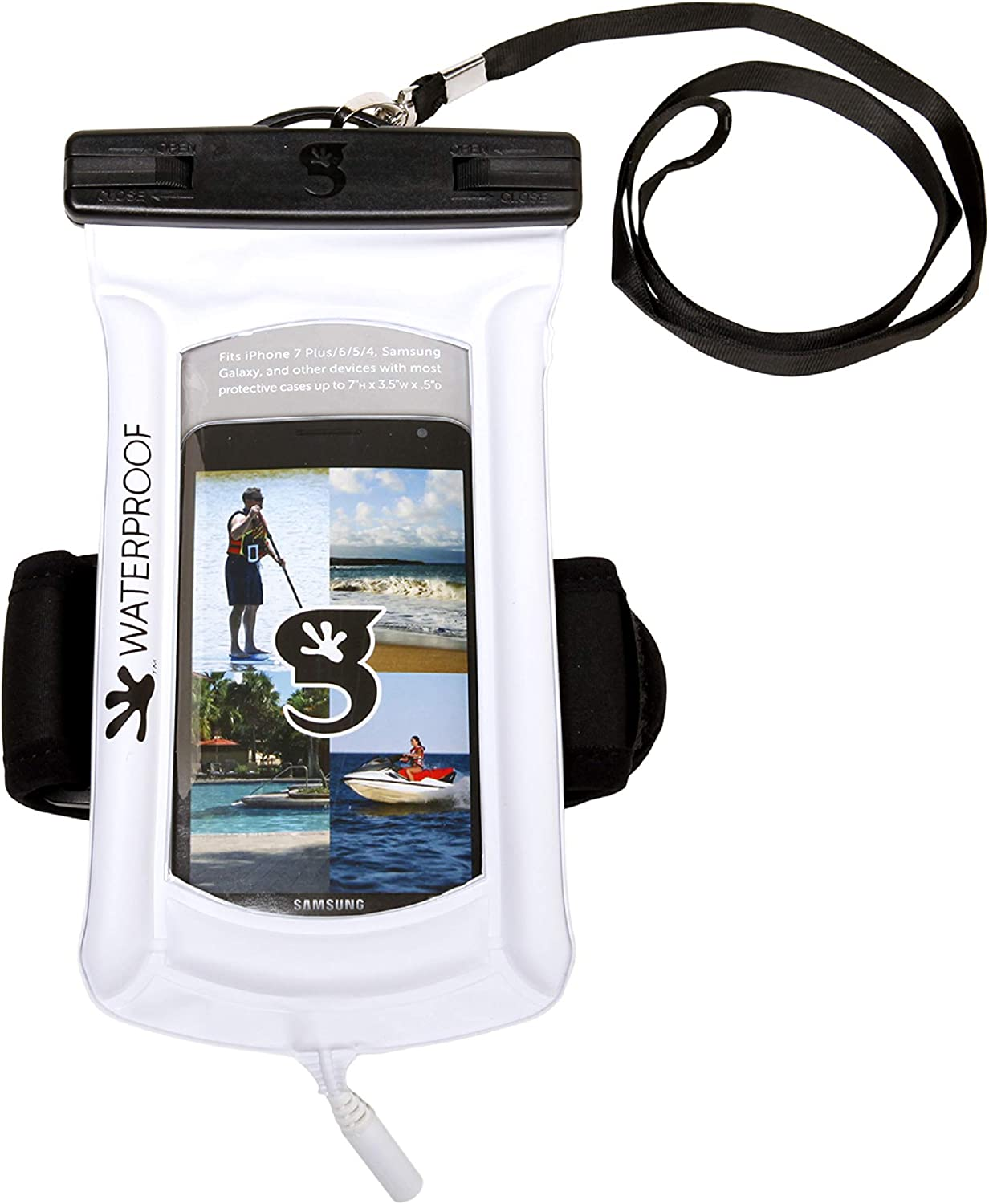 geckobrandsFloatPhoneDry Bag with Arm Band& Audio Port -Waterproof&FloatingPhonePouch– Fits Most iPhone and Samsung Galaxy Models