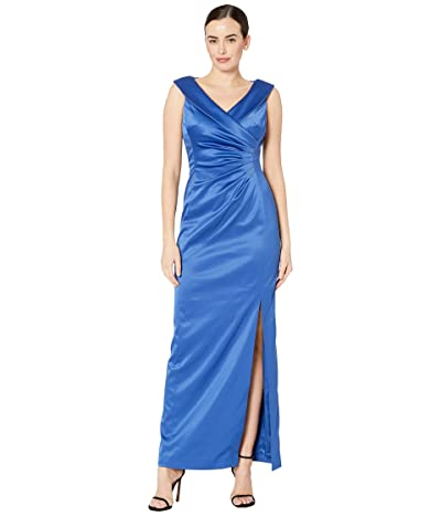 Tahari by ASL Stretch Satin Side Draped Long Gown (Cerulean Blue) Women