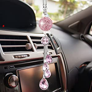Car Crystal Ball Decoration, Lucky Bling Rhinestone Rear View Mirror Accessories Sun Catcher Charm Home Pendant Decor Hanging Auto Ornament, Classic Interior Glam Décor for Women and Man (Pink)