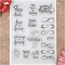 KWELLAM Words Share The Love Heart Happy Valentine's Day Happy Birthday Clear Stamps for Card Making Decoration and DIY Sc...