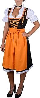 Almhouse 3-teiliges Mini Dirndl Tessa schwarz orange inkl. Schürze und Bluse Gr. 32-52