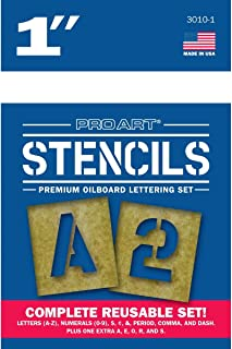 PRO ART Oiled Stencil Board Lettering Set, 1-inch, Natural
