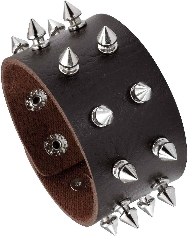 MILAKOO Punk Leather Bracelet Spike Studded Rivet Punk Rock Bracelet Wristband Adjustable