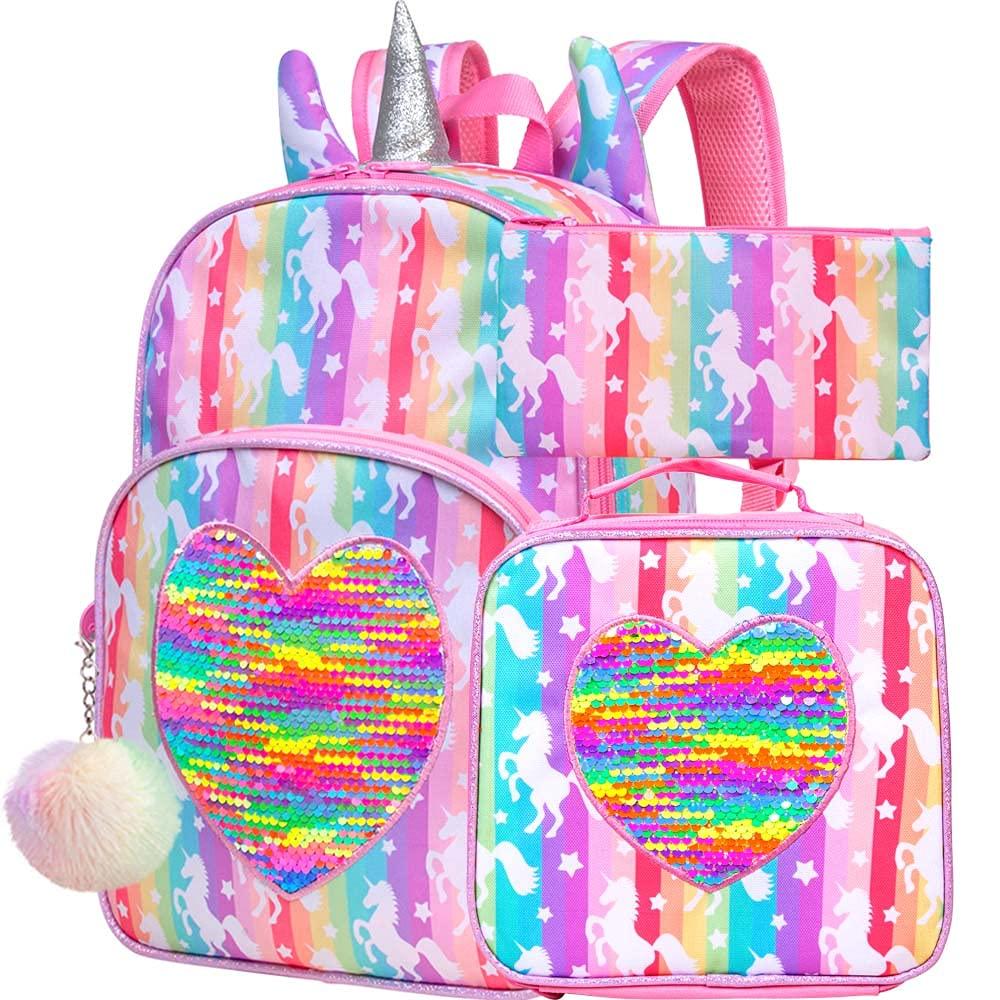 4PCS Unicorn Backpack for Girls, 14.5