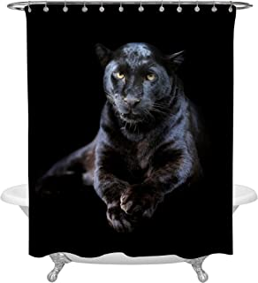 MitoVilla 3D Black Panther Shower Curtain for Safari Animal Decor, Closeup Leopard on Dark Background Big Cat Wildlife Apartment Decorations, Heavy Duty 72 W by 72 L inches