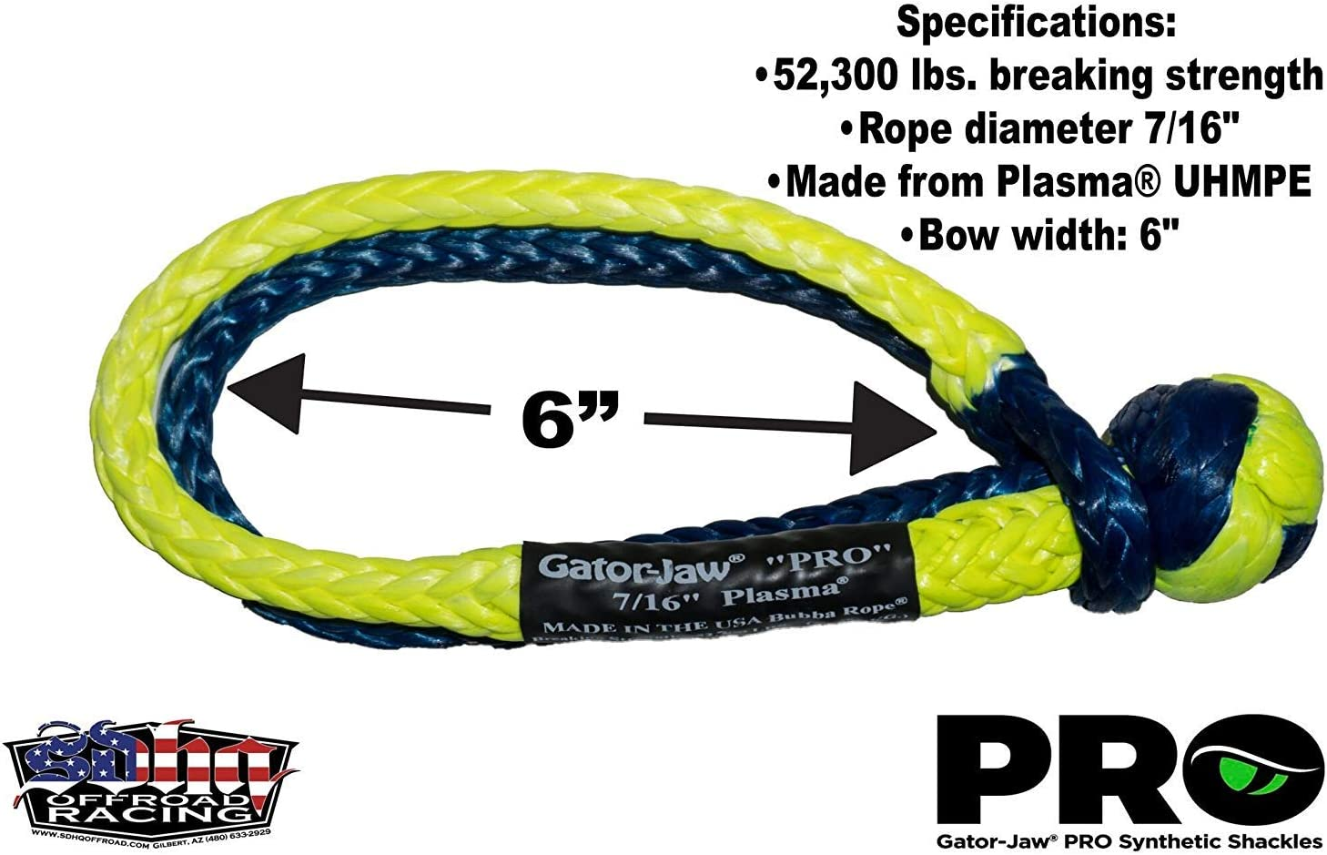 52,300LB Breaking Strength 7//16 Orange /& Gray Made in The USA Bubba Rope Gator-Jaw Pro Synthetic Soft Shackle