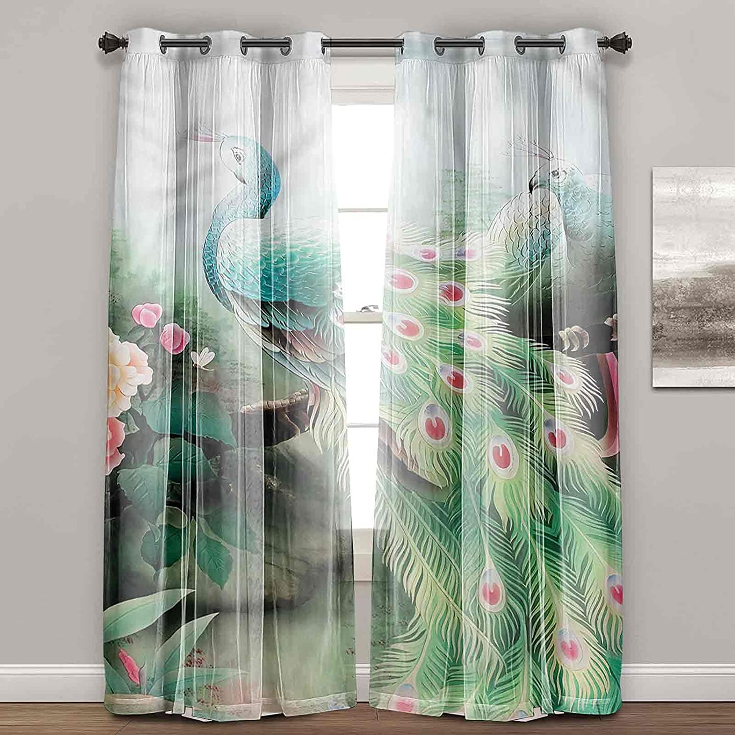 Light Blocking New products world's highest quality popular Curtains Peacock Garden Farmhouse Summer Flower Super popular specialty store