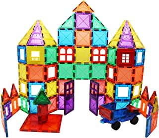 Skymags Magnetic Blocks Building Tiles 100 Piece Set 3D Clear Color with Strong Magnets Developes Kids Imagination, Inspiration and Fine Motor Skills in Children
