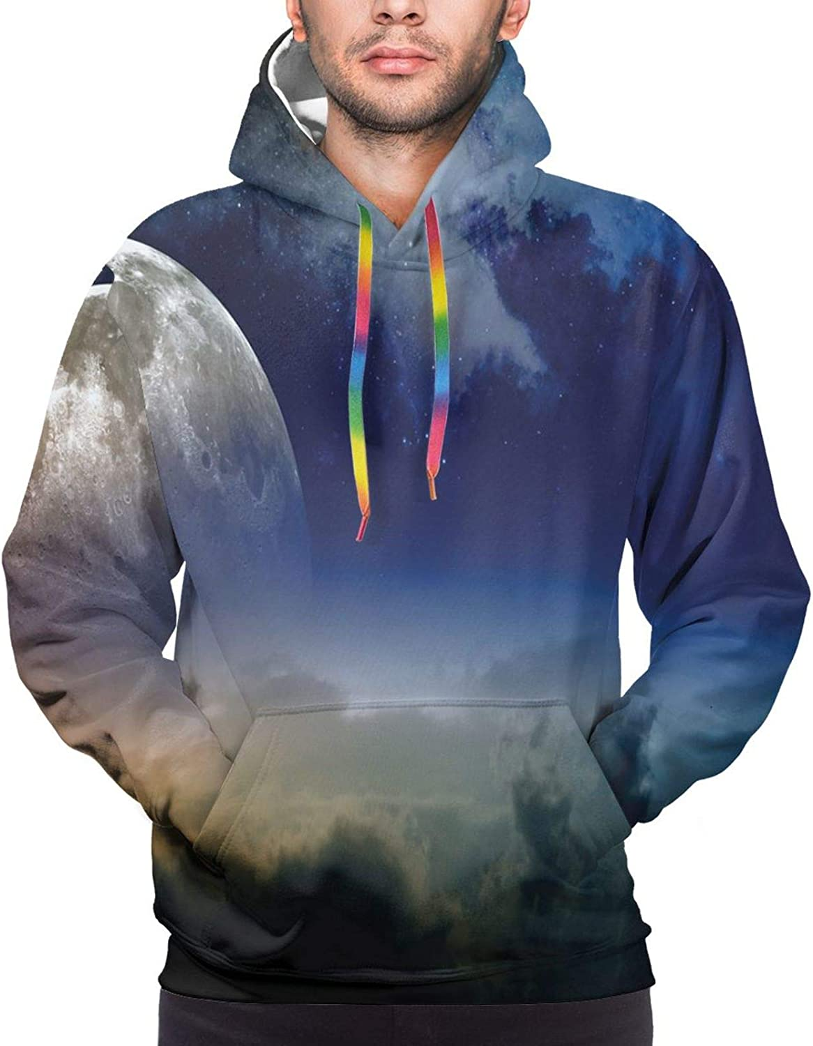 Men's Hoodies Sweatshirts,Full Moon Over The Forest Sky with Stars Dots and Swirls Background