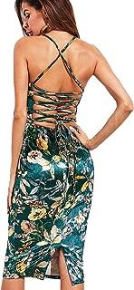 Women's Sleeveless Crisscross Lace Up Floral Velvet Cami Bodycon Dresses
