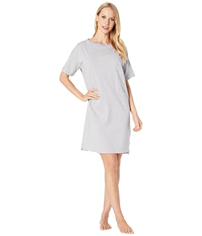 Skin Natural Skin Margot Organic Cotton Sleepshirt (Heather Grey/Blue Stripe) Women