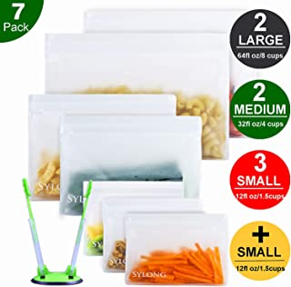 Reusable Sandwich Bags with Bonus Baggy Rack /& Triple-Lock Leakproof Freezer Bag