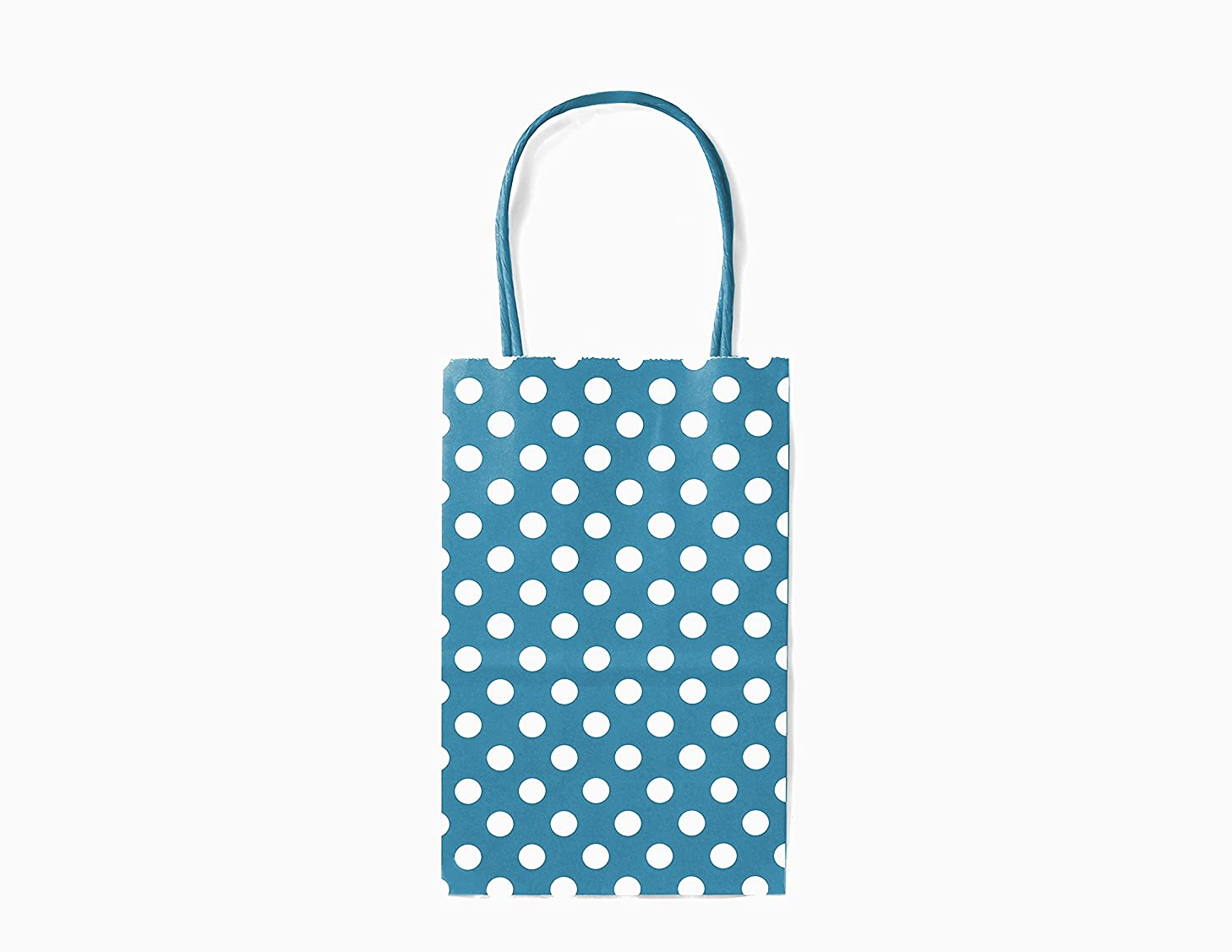 12CT Small Turquoise Polka DOT Biodegradable, Food Safe Ink & Paper, Premium Quality Paper (Sturdy & Thicker), Kraft Bag with Colored Sturdy Handle (Small, P.Turquoise)