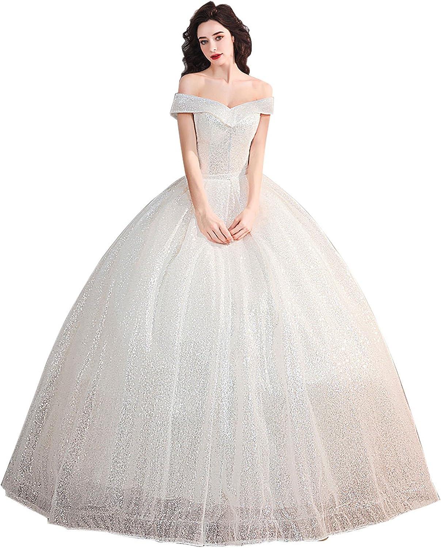Epinkbridal Off Shoulder Sparkling Sequin Ball Gown Wedding Dress Tulle Bridal Dress