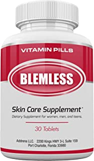 Blemless 30 Day Clear Skin Supplements Pill- Best Tablets for Oily Skin and a Glowing Complexion | Vitamin Pills for Women...