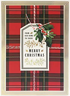 Handmade Dimensional Plaid Christmas Cards with Gold Foil By Anna Griffin - Set of 10 Cards