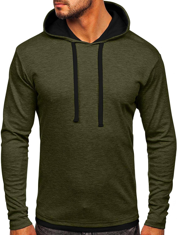 Hoodies for Men Mens Autumn Slim Casual Patchwork Hooded Long-sleeve Sweatershirt Top Fashion Sweatshirt Hoodies Blouses