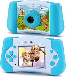 PROGRACE Kids Camera Portable Handheld Console Game for Toddler 4-12 Year Old Girls Boys Toy Gifts Children Camera for Kids Support 4000+ Games Music Selfie Kids Digital Video Camera 12M 2.4Inch(Blue)