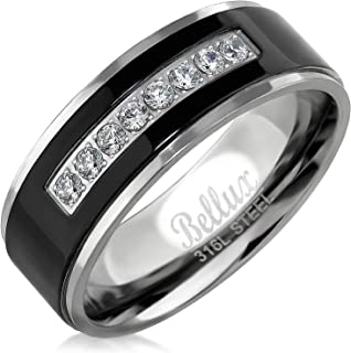 Bellux Style Mens Wedding Bands Stainless Steel Promise Rings for Him Silver Black Comfort-Fit Engagement Jewelry
