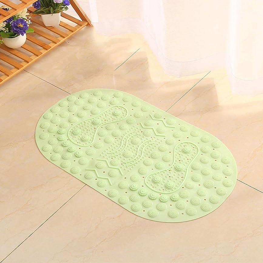 これまでナイトスポットに変わる(Enerhu)滑り止め バスマット マット お風呂マット 転倒防止 介護用 吸盤式 足ふきマット マッサージ 楕円形 匂いなし 浴室 浴槽 グリーン