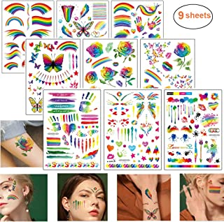LGBT Rainbow Tattoos Set Gay Pride Temporary Tattoo Stickers with Colorful Butterfly Star Flowers Flag Design Body Art Fake Paint Water Transfer for Festival Parades or Party Celebrations(9 Sheets)