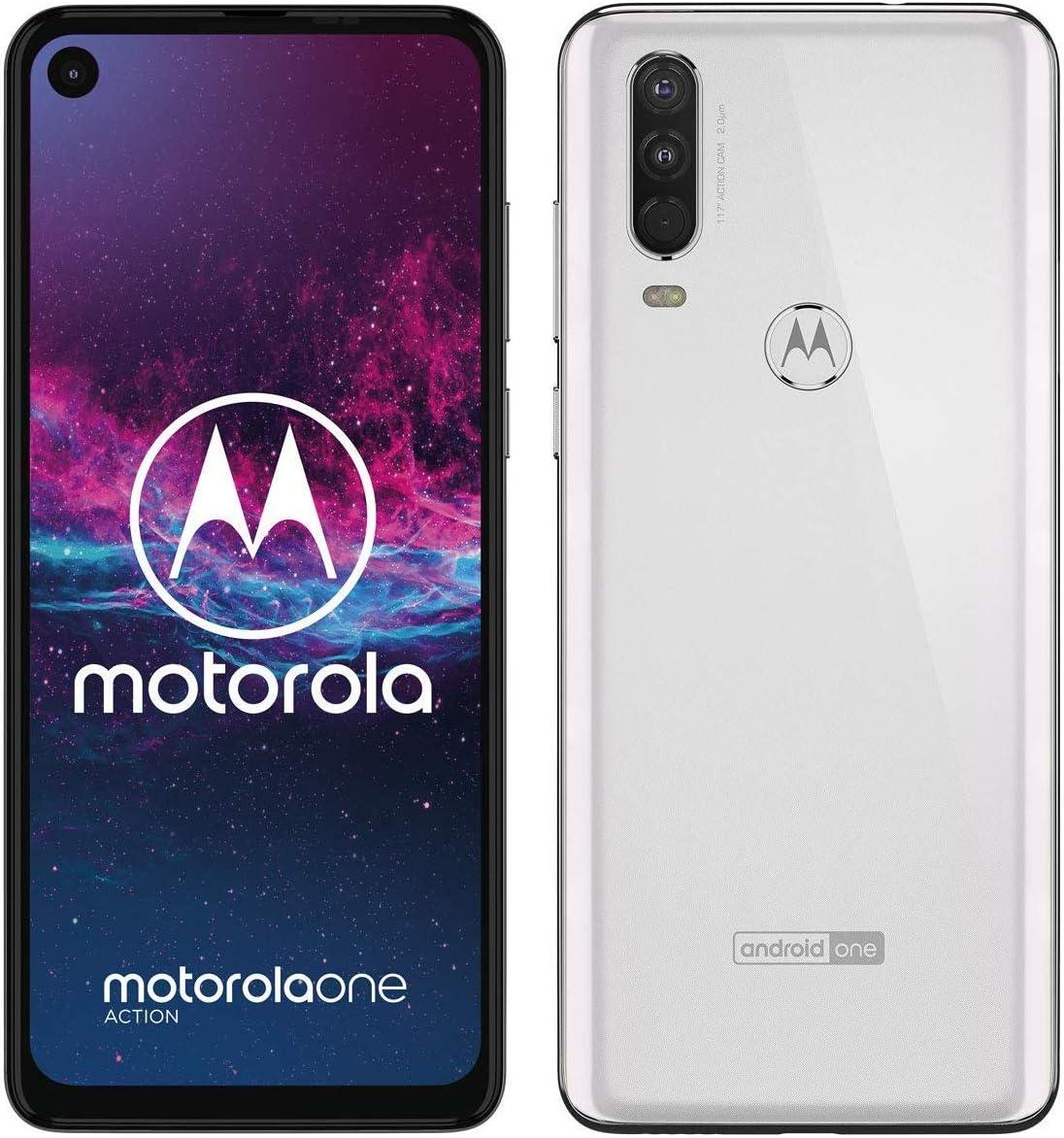 Motorola One Action (128GB, 4GB RAM) 6.3″ Display, Triple Camera, Dual SIM GSM Unlocked XT2013-1 – US + Global 4G LTE – International Model (White, 128GB + 64GB SD + Case Bundle)