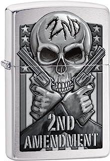 Zippo Custom Lighter: Second Amendment, Skull and Guns - Brushed Chrome 78702