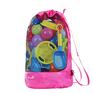 EocuSun Beach Mesh Bag Tote Durable Large Drawstring Beach Backpack Sand Away Swim and Pool Beach Toys Storage Bags Packs, Stay Away from Sand and Water, Toy Not Included (Hot Pink)