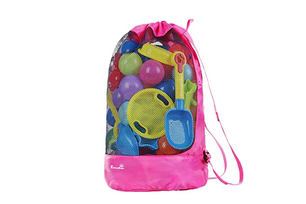 0962a0002dd EocuSun Large Mesh Beach Bag Tote Durable Sand Away Drawstring Beach  Backpack Swim and Pool Toys Balls Storage Bags Packs, Stay Away from Sand  and Water, ...