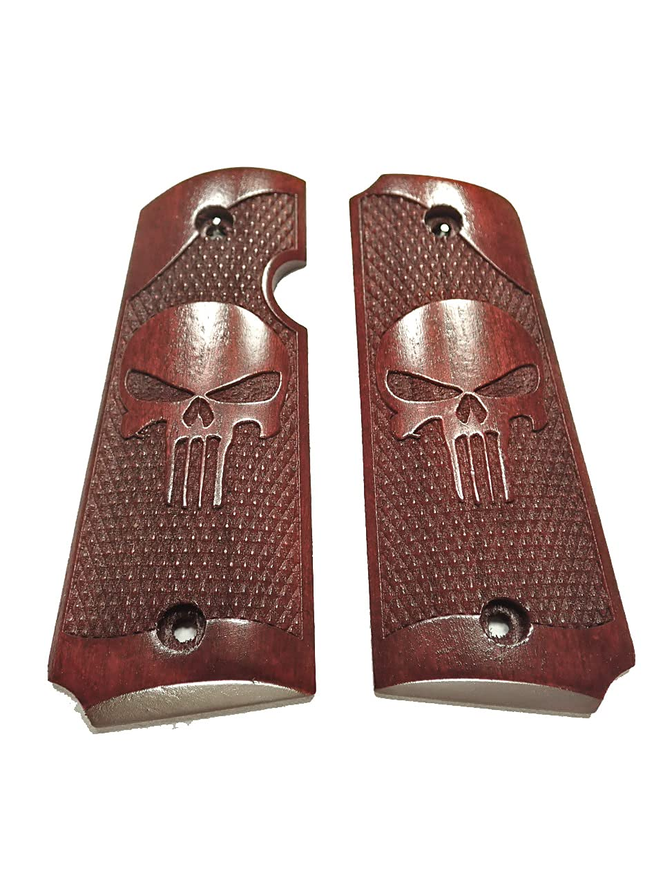 Punisher #2 Rosewood Price reduction Rock Island Grips 1911 Texture Inventory cleanup selling sale 380 Engraved