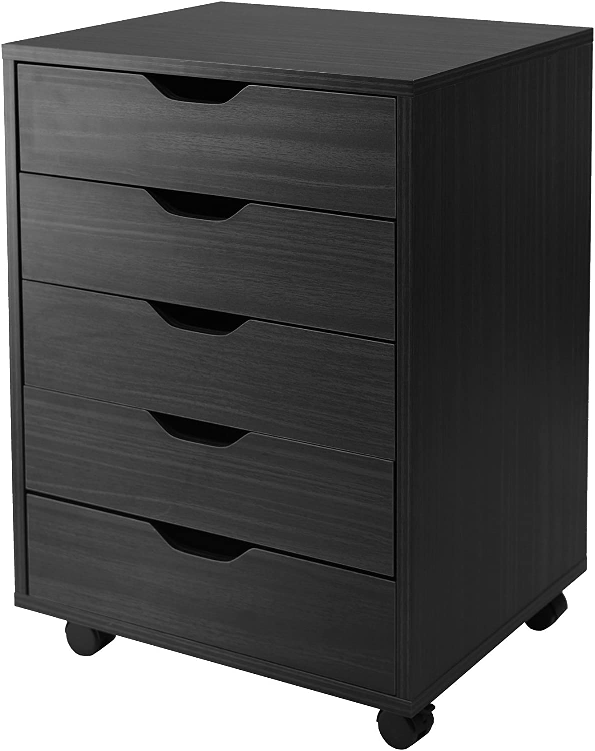 Winsome Wood Halifax Cabinet for Closet Office, 5 Drawers, Black