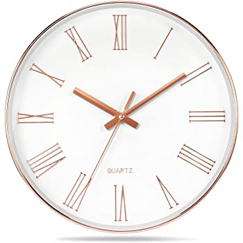 292 mm in Diameter 90292-64R Runs Particularly Quietly BERING Wall Clock Rose Gold and White Simple and Modern Nordic Design