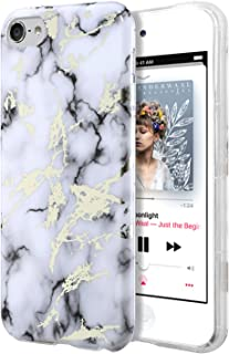 Dailylux iPod Touch 6 Case,iPod Touch 5 Case,iPod Touch 7 Case,Hard PC+ Soft TPU Edge Protection Ultra thin Shockproof Air Cushion Technology Cover for iPod Touch 5/6/7th Generation-White Marble