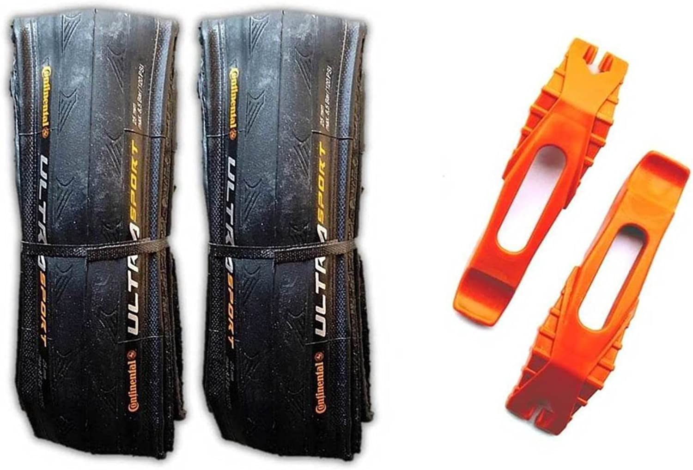 Continental Ultra Sport II 700x25c Road Bike Folding Tire Combo (2 Tires & 2 Conti Tire Levers) (Full Black)