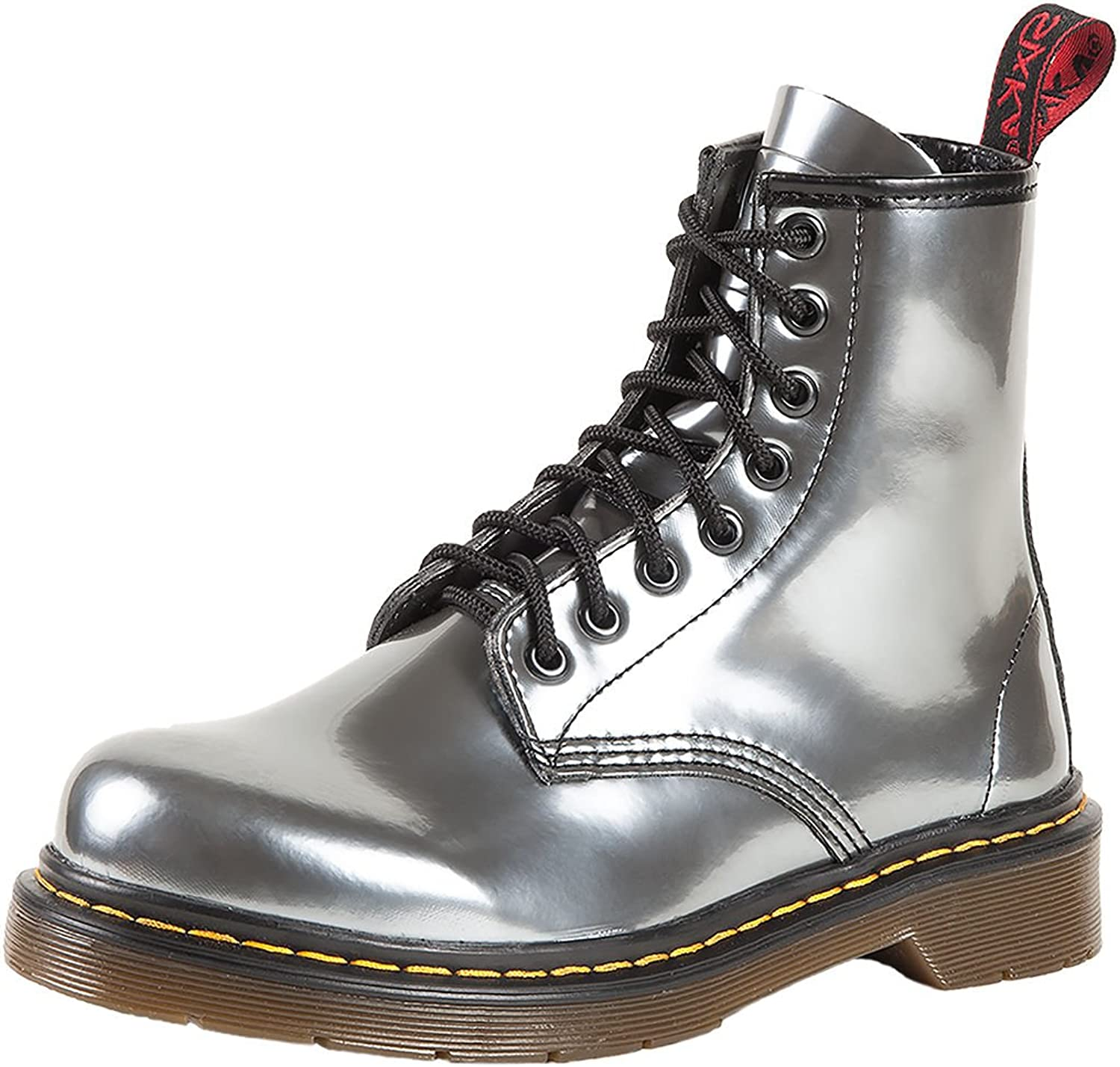 SK7 Women's Hot Stylish Coventry Gloss Leather Fashion Ankle Boots Silver Arrow - 10