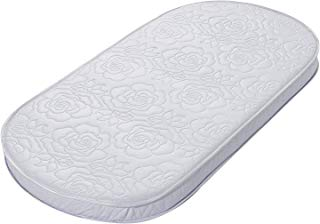 """Big Oshi Waterproof Oval Baby Bassinet Mattress - Waterproof Exterior - Thick, Soft, Breathable Foam Interior - Comfy, Padded Design, Also Fits Portable Bassinets - 16"""" x 31"""" x 2"""", White"""