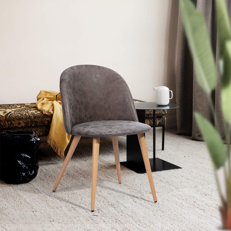 MEUBLE COSY Lot de 2 Chaise de Salle à Manger PU Blanc Chaise de Salon Pieds Métal avec Finition chêne Clair , Blanc /49x53x77,5cm Vintage
