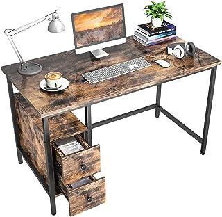 Bureau d'ordinateur avec 2 Tiroirs, GIKPAL Table de Bureau Informatique à Cadre en Acier, 120 x 60 x 75 cm Grande Table de...