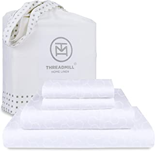 """Threadmill 500 Thread Count King Size 4 Piece Cotton Bedsheet Set, Jacquard Floria Hotel White, Silky Soft Sheets with 16""""..."""