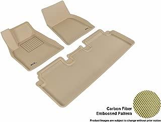 3D MAXpider Complete Set Custom Fit All-Weather Floor Mat for Select Tesla Model S Models - Kagu Rubber (Tan)